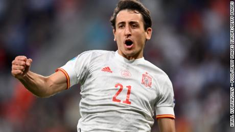 Mikel Oyarzabal celebrates his side's victory in the penalty shootout.