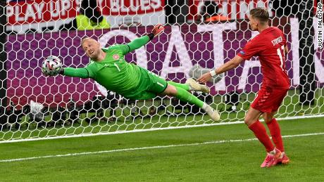 Schmeichel had an impressive game for Denmark, notably saving a Harry Maguire header.