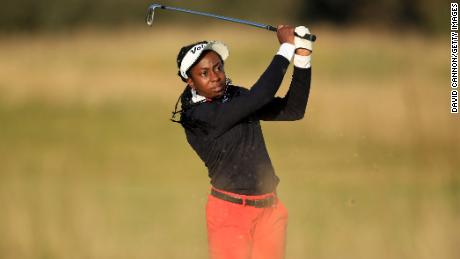 Oboh plays her second shot on the 18th hole during the second round of the Aberdeen Standard Investments Ladies Scottish Open.