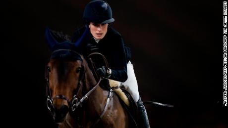Springsteen rides Don Juan van de Donkhoeve during the FEI World Cup Jumping competition in Mechelen, Belgium, in 2019.