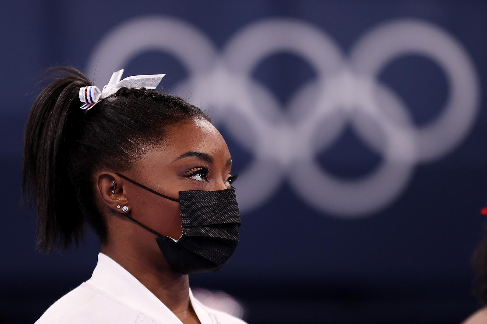 Simone Biles looks on during the Women's Team Final on July 27.