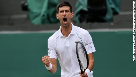 Novak Djokovic celebrates during his win against Denis Shapovalov on Friday.