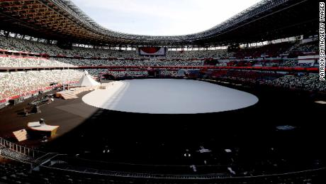 A general view prior to the Opening Ceremony of the Tokyo 2020 Olympic Games at Olympic Stadium.
