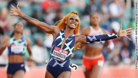 Sha'Carri Richardson celebrates winning the 100-meter final at the US Olympic trials.