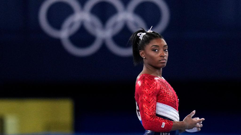 American gymnast Simone Biles waits to perform on the vault on July 27.