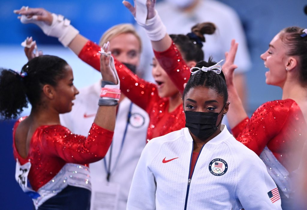 US gymnast Simone Biles wears her warm-up gear aftershe pulled out of the team all-around competitionon Tuesday, July 27.