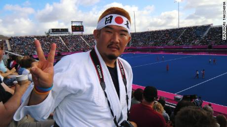 Takishima attends a hockey match at the 2012 Olympics in London.