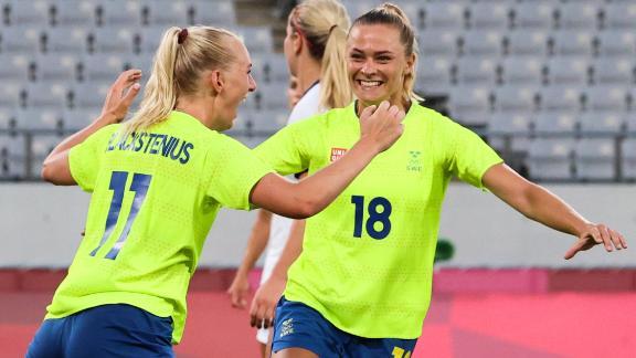 Sweden forward Stina Blackstenius celebrates after scoring her second goal of the match.