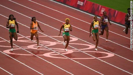 Fraser-Pryce and Thompson-Herah lead the way in the 100m final.