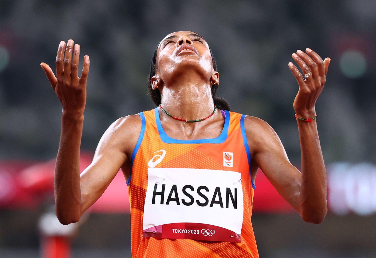Dutch runner Sifan Hassan celebrates after winningher 1,500-meter heaton Monday.