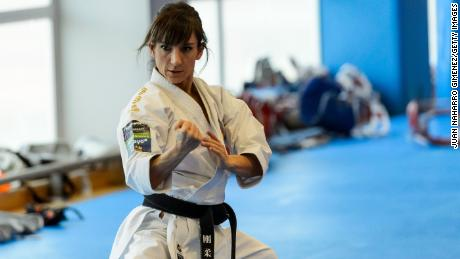 Spanish karate competior Sandra Sanchez, an Olympic favorite, at a training session on February 24, 2021 in Madrid.