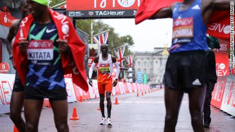 Kipchoge crosses the line in last year's London Marathon.