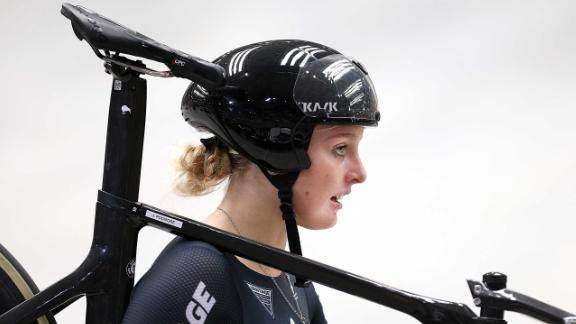 Podmore looks on after competing in the women's elite team sprint qualifying during the New Zealand Oceania Track Championships.