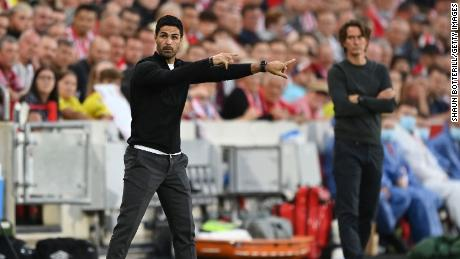 """""""We had really high hopes and we didn't get the result that we wanted or the performance we wanted,"""" said Arsenal manager Mikel Arteta (left) after his team's 2-0 defeat by Brentford."""