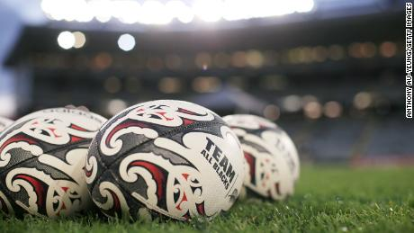 Official match balls are seen ahead of The Rugby Championship and Bledisloe Cup match between the All Blacks and the Wallabies.