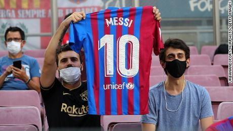 Supporters returned to the Camp Nou and many paid tribute to Lionel Messi.