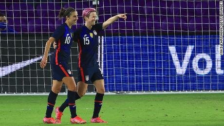 Megan Rapinoe celebrates a goal with Lloyd during a match against Argentina in the SheBelieves Cup.