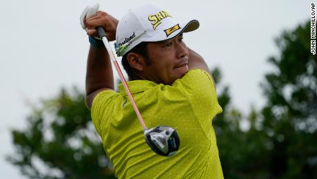 Hideki Matsuyama watches his shot off the third tee in the second round at the Northern Trust golf tournament, Friday, Aug. 20, 2021, at Liberty National Golf Course in Jersey City, N.J.