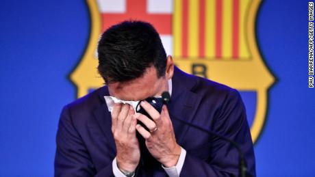 Lionel Messi is reduced to tears during his farewell press conference at the Camp Nou stadium.