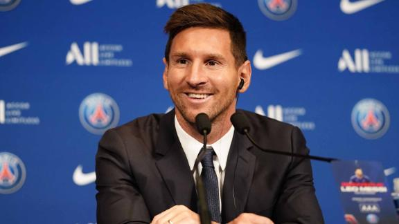 Messi during his presentation as PSG's latest signing.