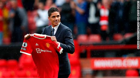 Manchester United's  Raphaël Varane is presented to the fans ahead of the English Premier League football match against Leeds United.