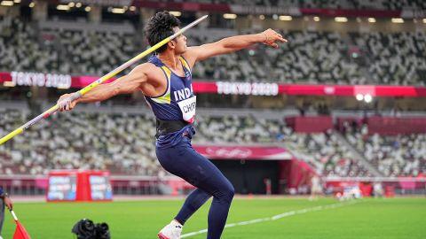 Neeraj Chopra's throw of 87.58m won him javelin gold at Tokyo 2020.