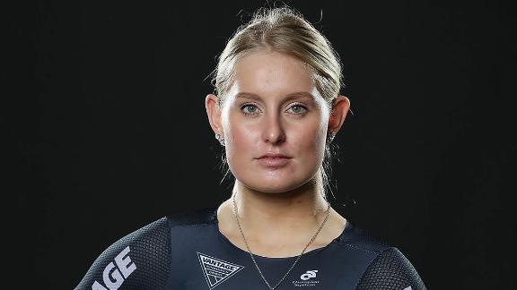 Olivia Podmore poses during the NZOC cycling Commonwealth Games headshots session.