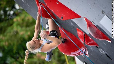 Slovenian climber Janja Garnbret competes in a Climbing IFSC World Cup event in Villars-sur-Ollon, Switzerland, on July 3, 2021.