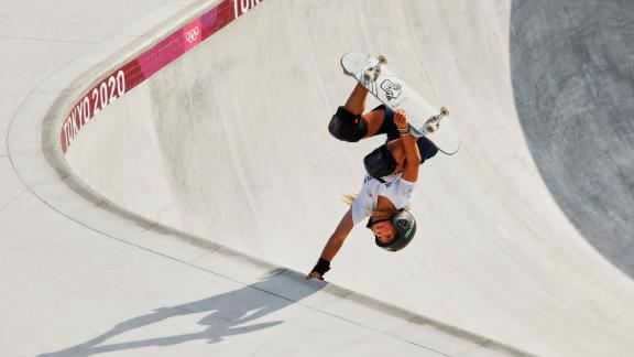 Brown started skateboarding at age three, teaching herself tricks by watching YouTube videos.