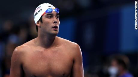 Jay Litherland of Team USA competes in heat four of the men's 400m Individual Medley on day one of the Tokyo Olympics at the Tokyo Aquatics Centre on July 24, 2021.