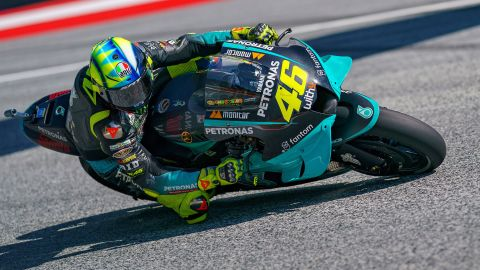 Italy's Valentino Rossi rides at the MotoGP of Styria during free practice at the Red Bull Ring on August 6, 2021 in Spielberg, Austria.