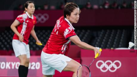 Chen Qingchen and Jia Yifan of China compete against Greysia Polii and Apriyani Rahayu of Indonesia during the badminton women's doubles gold medal match on day 10 of the Tokyo 2020 Olympic Games.
