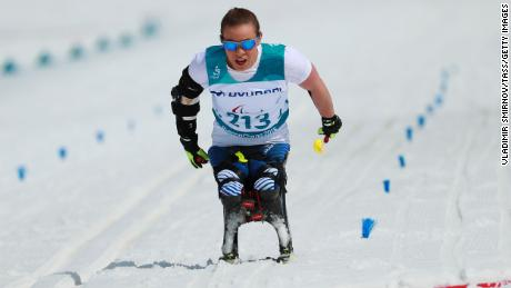Masters competes in the cross-country skiing 5km sitting event at the 2018 Winter Paralympic Games.