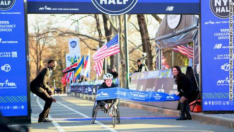 McFadden finished first in the women's wheelchair category of the 2019 New York City Half.