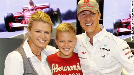 Corinna, Michael und Mick Schumacher in Stuttgart, Germany on August 30, 2012.