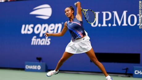 Leylah Fernandez of Canada returns the ball against Emma Raducanu of Great Britain during their Women's Singles final match September 11, 2021.