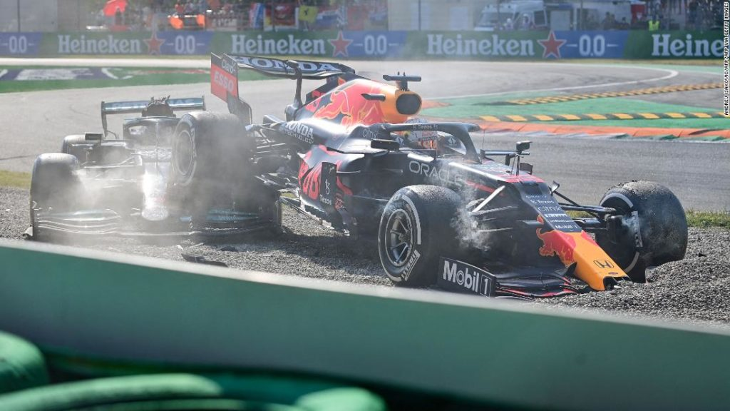 Lewis Hamilton and Max Verstappen collide and are ruled out of drama-filled Italian Grand Prix