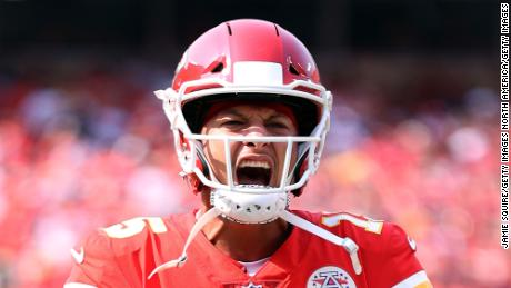 Mahomes reacts during the game against the Cleveland Browns.