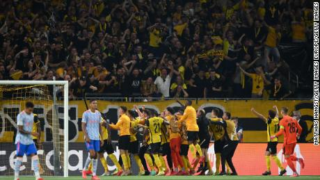 Young Boys celebrate after scoring the winning goal.