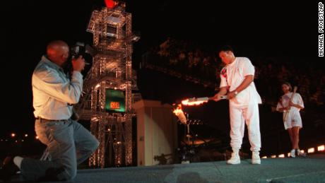 Ali lights the 1996 Olympic flame at the Atlanta Games on July 19, 1996.