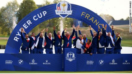 Team Europe celebrate after winning the 2018 Ryder Cup.