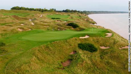 The par 3 12th hole at Whistling Straits.