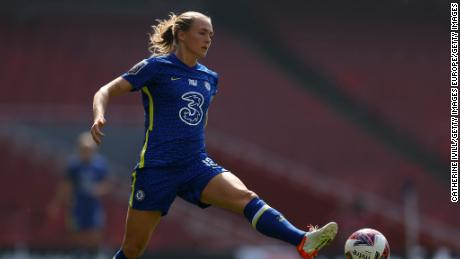 Chelsea's Magdalena Eriksson controls the ball in the Women's Super League match against Arsenal Women at the Emirates Stadium on September 5.