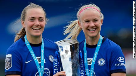 Magdalena Eriksson and Pernille Harder celebrate winning the Women's Super League in May 2021.