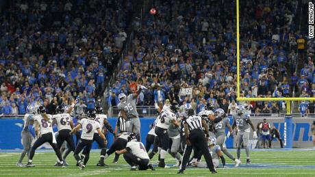 Tucker kicks the game-winning 66-yard field goal.