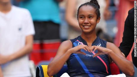 Leylah Fernandez celebrates reaching the US Open semifinals.