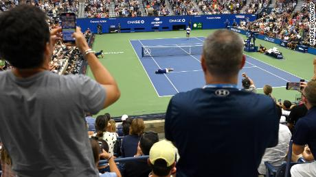 Medvedev reacts to his win against Djokovic at the US Open.