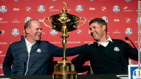 Stricker, left, and Harrington share a laugh at the conclusion of the 2020 Ryder Cup Year-to-Go press conference.
