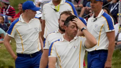 McIlroy reacts after Europe's loss to the US at the Ryder Cup.